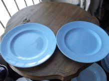 "2 X VINTAGE 8"" SALAD PLATES GIBSONS CERULEA WARE RICH BLUE COLOUR GREAT COND"